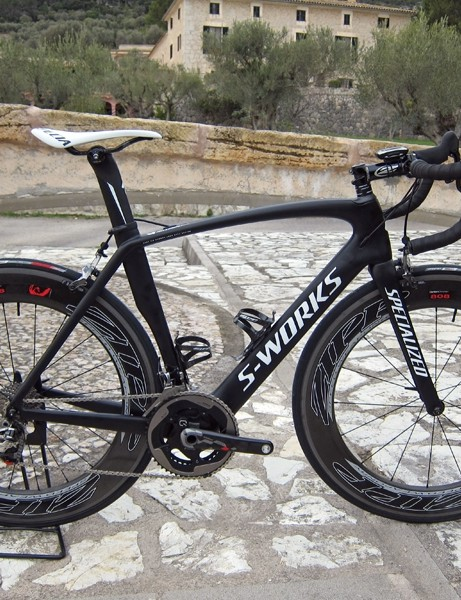 Mounted on a matte black bike, SRAM's new Red group certainly lends a stealthy look