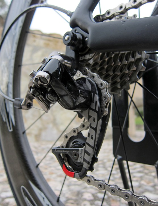 The carbon fiber outer pulley cage plate provides a generous canvas for a big SRAM logo