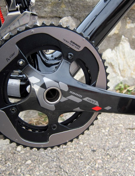 The standard SRAM Red crankarms feature marginally lighter weights but a much stiffer spider for reduced chainring flex
