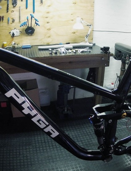 A preproduction Oneten29 waiting for parts; PYGA will initially sell the bikes as frames only