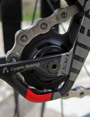 Drivetrain noise is definitely reduced relative to any other SRAM road group, partly due to new tooth shaping on the rear derailleur pulleys. SRAM will also make them a running change on Force and Rival groups moving forward