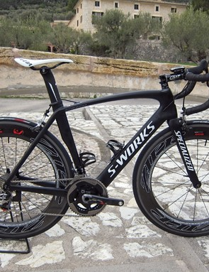 Our test rig for our initial ride on the new SRAM Red was an HTC team-issued Specialized S-Works Venge