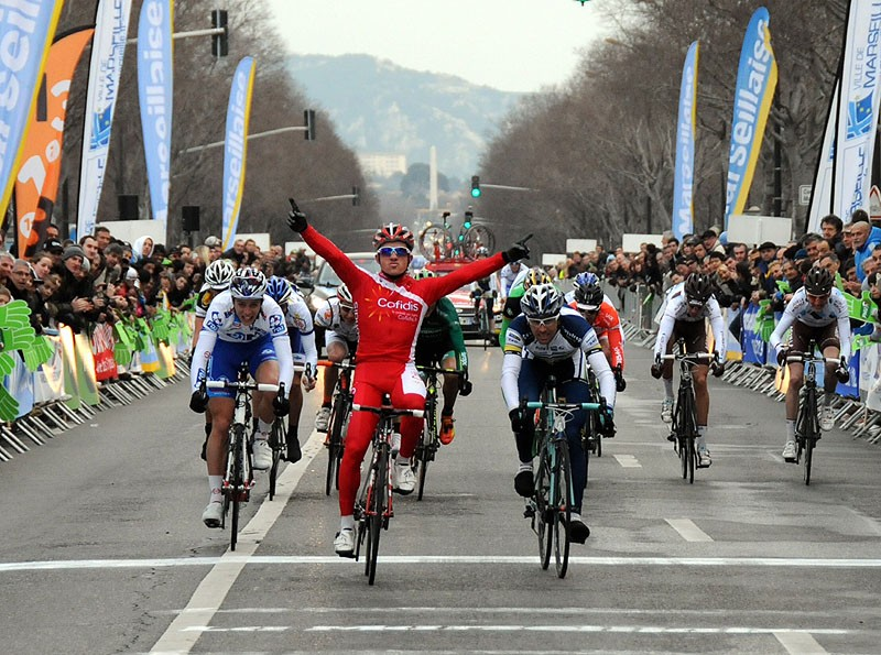 Samuel Dumolin wins the season opening GP Marseillaise France on American Classic's Carbon 38 tubular wheelset