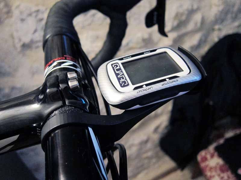 Quarq will soon offer to consumers its own mount for the Garmin Edge 500, which puts it out in front of the bars and closer to the rider's natural field of vision