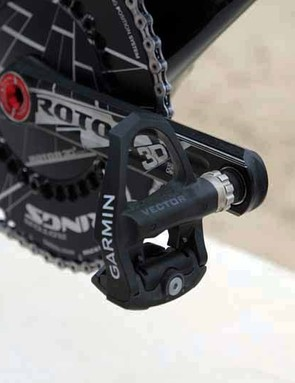 Garmin-Barracuda will be using Garmin's new Vector power measuring pedals this season; these may be mock-ups, given that there's no transmitter mounted