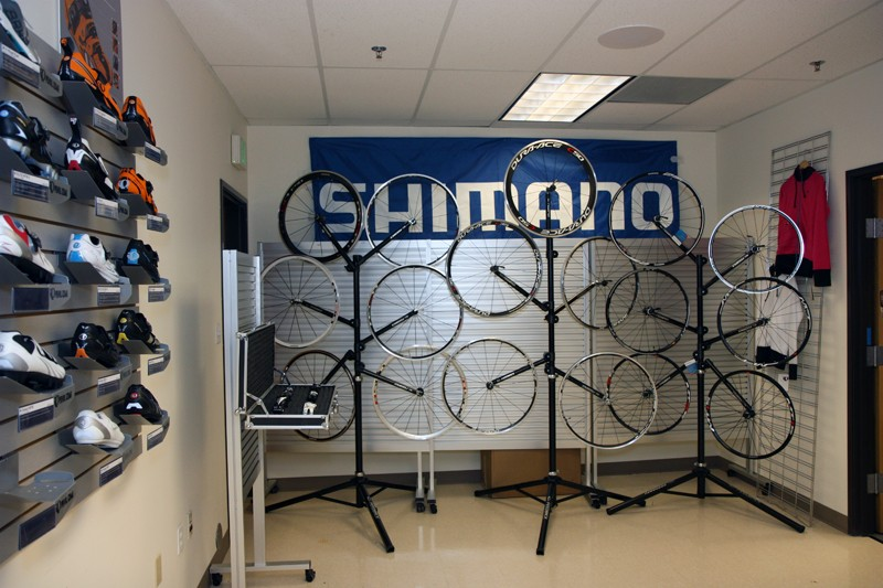 All of Shimano's road and mountain bike wheels are neatly displayed at one end of the facility