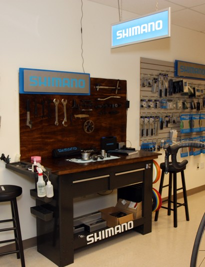 This workbench is the focal point for Shimano's tech demos