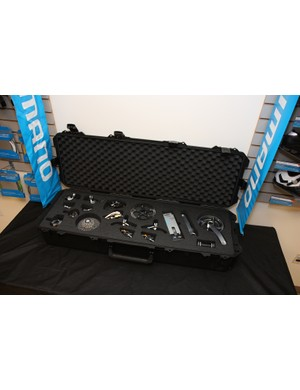 A complete Shimano XTR group sits in a padded case so clinic attendees can check things out up close and personal