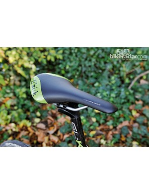 The EVO is peppered with details in Cannondale's corporate green, including on the Fizik Antares saddle