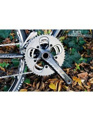 The cranks are actually SRAM Red with Cannondale graphics. BB30 is used, of course, as Cannondale invented it