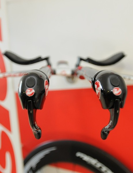 Head-on view of Vision's Metron TT trigger shifters