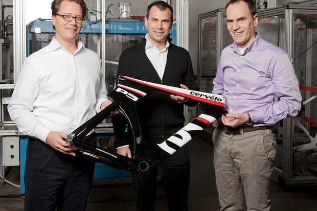 From left to right: Xeno Grimmelt, Senior Vice President, Pon Bicycle Group, Phil White, CEO, co-founder, Cervélo and Mathias Seidler, Chairman, Derby Cycle in Toronto as Cervélo joins Pon Bicycle Group