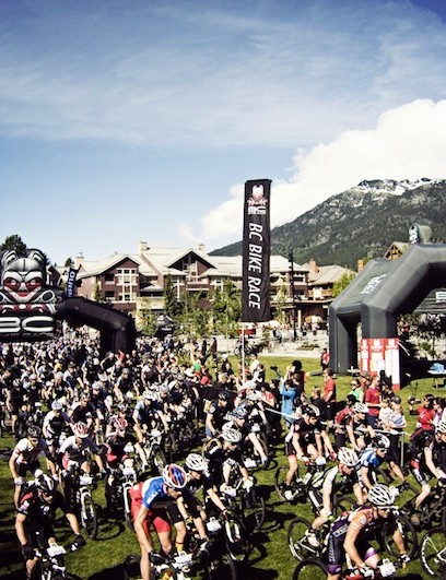 A typical stage start at the BC Bike Race