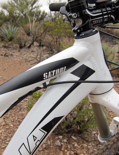 The integrated-style headset on the new Kona Satori decreases stack height relative to a conventional head tube