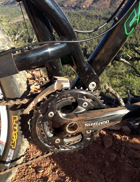 The driveside chain stay is run high on the Santa Cruz Superlight alloy 29er to decrease chain slap