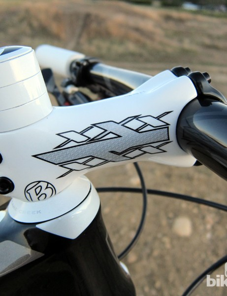 The Bontrager Race XXX Lite carbon stem is light and a good visual match for the rest of the bike