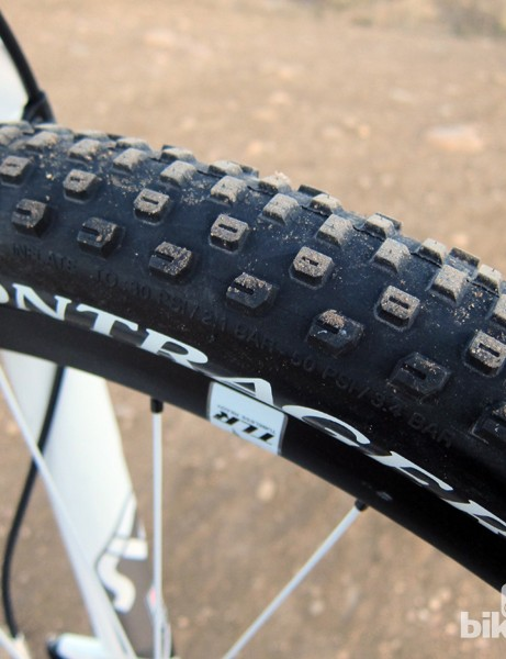 Bontrager's new 29-1 tires are outstanding, offering up lots of float with the 2.2in-wide casing and reasonable grip from the open knob spacing but still a fast roll from the low, ramped center knobs.