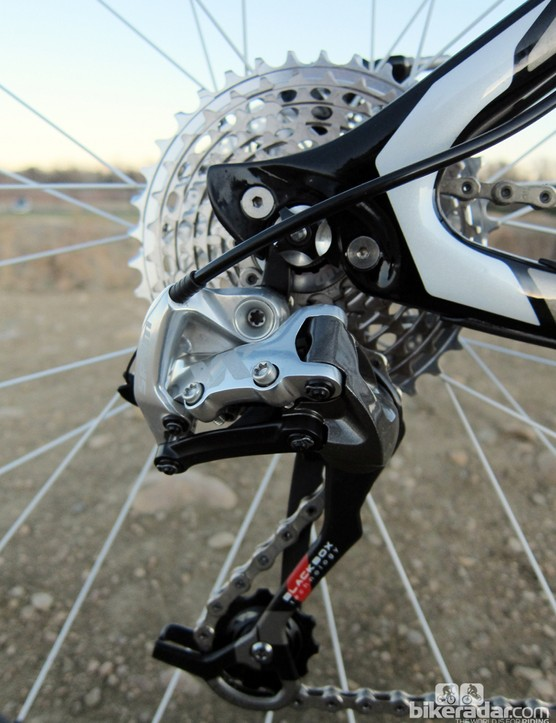 The SRAM XX rear derailleur and cassette rattled off quick, reliable and precise shifts throughout testing