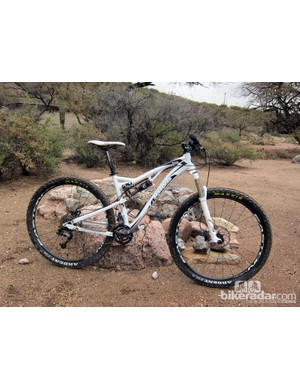 The fun factor on Kona's new Satori 130mm-travel 29er trail bike seems to be directly proportionate to speed. Handling manners are outstanding, too