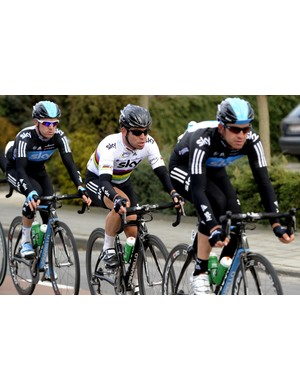 Ian Stannard leads Mark Cavendish with Chris Sutton tucked in behind