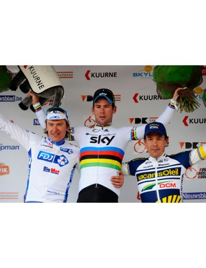 The KBK podium: Yauheni Hutarovich (2nd), Mark Cavendish (1st) and Robert Van Hummel (3rd)