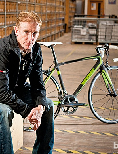 Legendary racer Sean Kelly has had a hand in the design of the new Vitus road range. Behind him is his signature bike