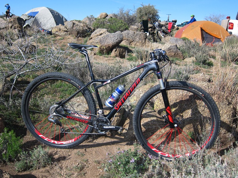 Rebecca Rusch's team-issue Specialized Fate is the women's analogue to the Stumpjumper HT, built with specific geometry and smaller-diameter tubes