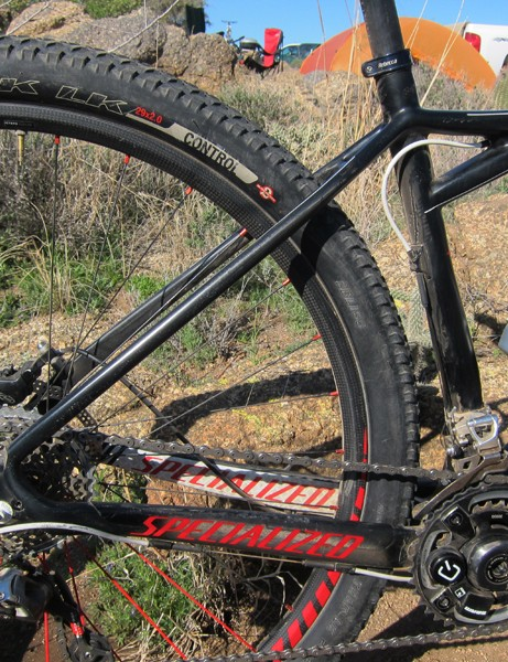 Slim tubes on the rear end of the Specialized Fate carbon 29er hardtail promise a smooth ride