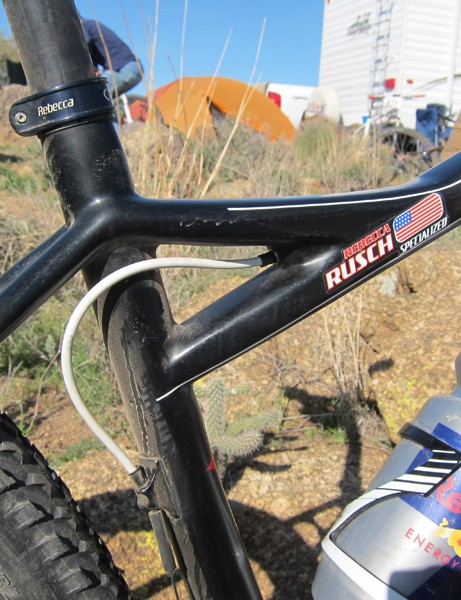 Specialized use the distinctive seat cluster treatment as an exit point for the internally routed front derailleur cable