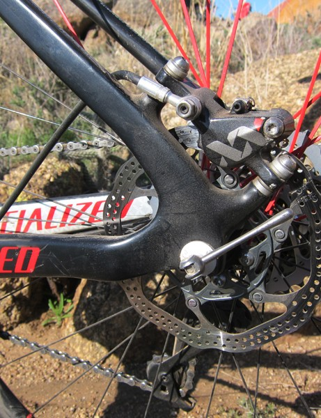 Carbon dropouts and post mount caliper tabs are built into the rear end of the Specialized Fate