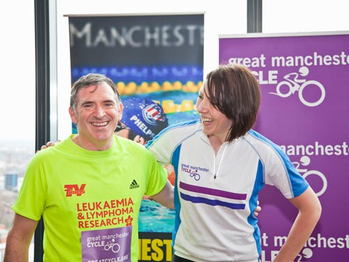 Emmerdale actor Tony Audenshaw with Rebecca Romero at the launch of the Great Manchester Cycle