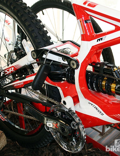 The Demo 8 FSR II comes complete with SRAM XO groupset and Rockshox Boxxer fork