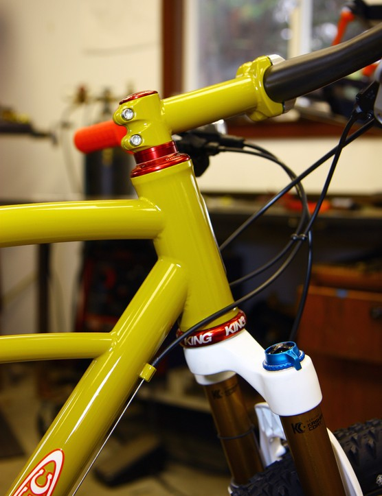 The 44mm-diameter head tube on this Retrotec can handle either straight or tapered steerer tubes