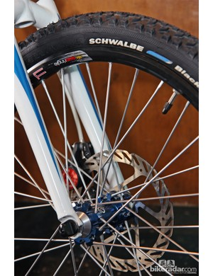 Industry Nine machined spokes to work with the 20in hoops on this custom Sycip