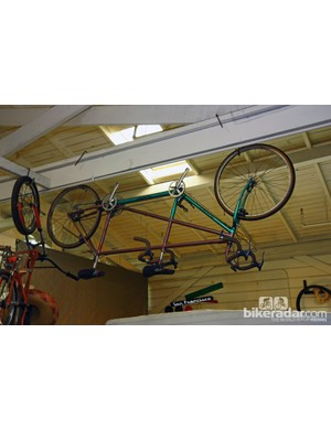 This Ritchey tandem is hanging from the rafters in Sycip's Santa Rosa shop