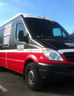 SRAM's new Sprinter vans are wrapped and ready for their RockShox Ride Experience demo this season
