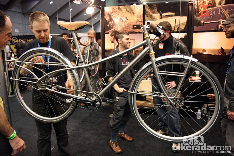 Naked Bicycles builder Sam Whittingham and his assistant, trials rider Aran Cook, rode their NAHBS show bikes from Eureka, California all the way to Sacramento