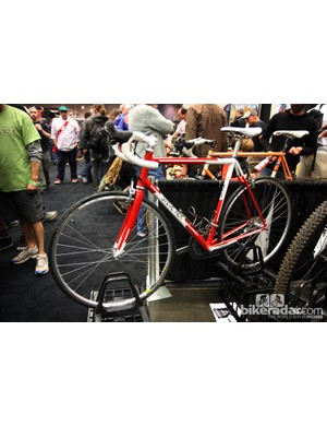 Alternative bikes are always prevalent at NAHBS but as Steve Rex demonstrates, traditional road racing bikes are still popular, too