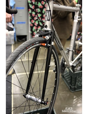 Soulcraft builder Sean Walling opted for a segmented steel fork on this stainless steel all-road creation at NAHBS