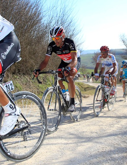 Cancellara's teammates looked to be riding standard Trek Madones at last weekend's Strade Bianche