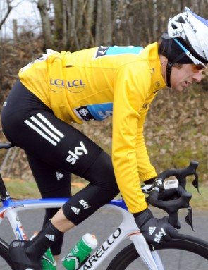 Bradley Wiggins was comfortable in yellow during stage 3
