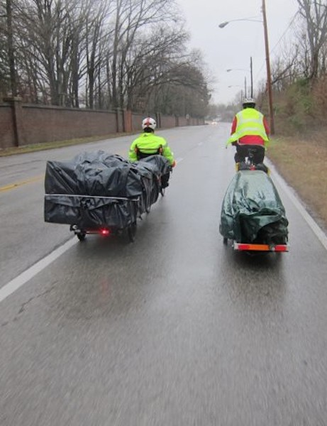 A team of cyclists moved the Carey family by bike