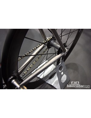 The titanium chain stays on Baum Cycles' incredible Corretto Pista track bike are flattened near the dropouts.