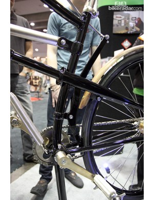 The University of the Fraser Valley's 1888 Whippet reproduction has just a single brake that presses directly on the tire.