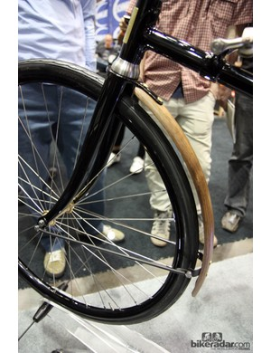 The rider of this 1888 Whippet reproduction would be protected from road spray by this wooden fender. Workmanship by the creators at the University of the Fraser Valley is simply incredible.