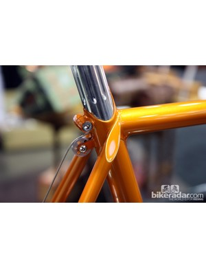 Routing like this is usually only used on bikes with integrated masts but Bishop has managed it with a conventional seatpost. Note the Bishop logo on the seat binder, too.