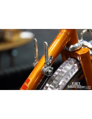 Check out the old-school Campagnolo down tube shifters on this Bishop randonneur bike.