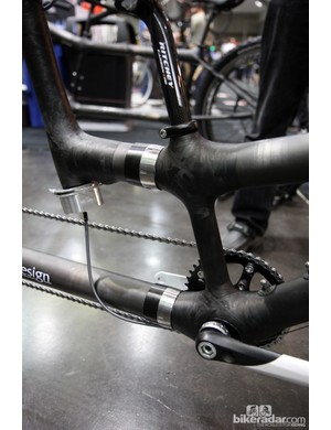Craig Calfee's personal tandem is fitted with couplers, not so much for easier travel but to allow for interchangeable frame configurations - including the possibility of a triplet.