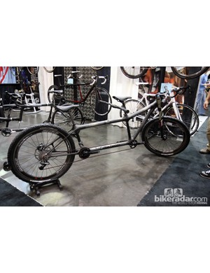 New for Calfee is Tetra 29er mountain bike tandem. Retail price for the 6.5lb frame is US$6,195.