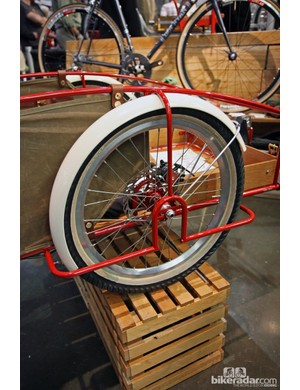 Check out the elegant looking framework for the rear wheels of Ira Ryan/Trucker's cargo trailer.